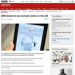 BHS brand to be revived online in the UK