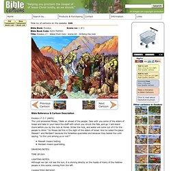 Bible Cartoons: Exodus 17 - Water from rock - scene 04 - Striking the rock