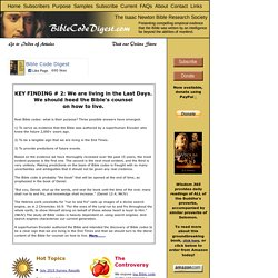 Bible Code Digest.com - Home Page [Bible Code Digest]