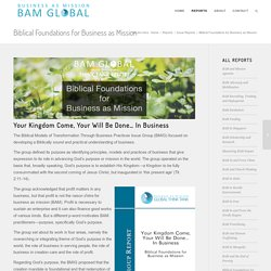 Biblical Foundations for Business as Mission