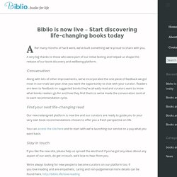 Biblio is now live - Start discovering life-changing books today - Biblio blog