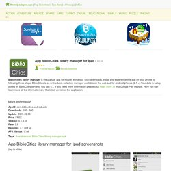 Detail App BiblioCities library manager for Ipad