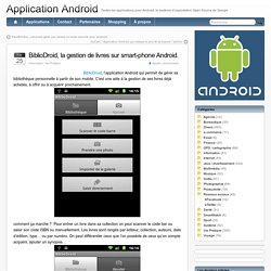 BiblioDroid, la gestion de livres sur smart-phone Android.