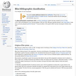 Bliss bibliographic classification