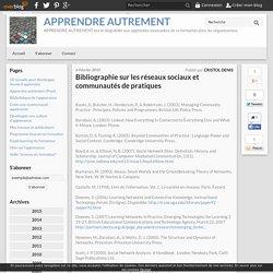 Bibliographie sur les réseaux sociaux et communautés de pratiques