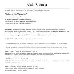 """Alain Rieunier - Bibliographie """"Objectifs"""""""