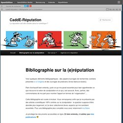 Bibliographie sur la (e)réputation