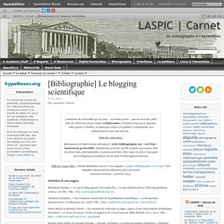 [Bibliographie] Le blogging scientifique | LASPIC | Carnet