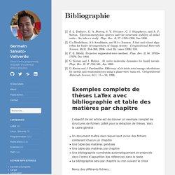 Exemples complets de thèses LaTex avec bibliographie et table des matières par chapitre