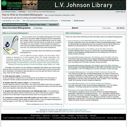 About Annotated Bibliographies - How to Write an Annotated Bibliography - LibGuides at Southern Polytechnic State University