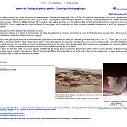 Verres de l'antiquité gréco-romaine : chronique bibliographique (Glass from Graeco-Roman Antiquity. Bibliographic chronicle par Marie-Dominique Nenna