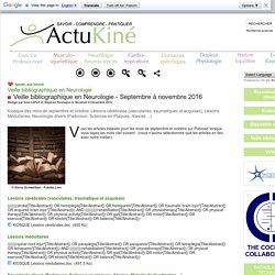Veille bibliographique en Neurologie - Septembre à novembre 2016