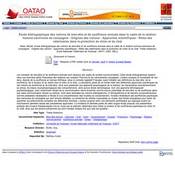 OATAO - 2002 - Etude bibliographique des notions de bien-être et de souffrance animale dans le cadre de la relation homme-carniv