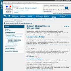 Notices bibliographiques en téléchargement — Documentation (CDI)