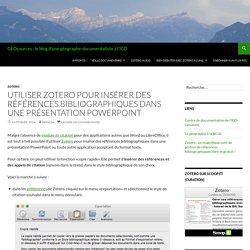 Utiliser Zotero pour insérer des références bibliographiques dans une présentation PowerPoint