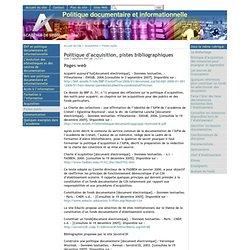 Politique d'acquisition, pistes bibliographiques - [Politique documentaire et informationnelle]