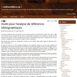 Outils pour l'analyse de références bibliographiques