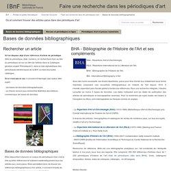 Bases de données bibliographiques - Faire une recherche dans les périodiques d'art