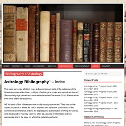 Bibliography of astrology library
