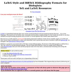 LaTeX Style and BiBTeX Bibliography Formats for Biologists: TeX and LaTeX Resources