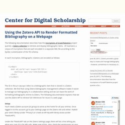 Using the Zotero API to Render Formatted Bibliography on a Webpage