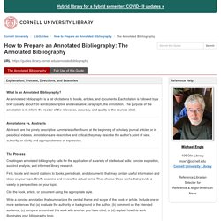 The Annotated Bibliography - How to Prepare an Annotated Bibliography - LibGuides at Cornell University