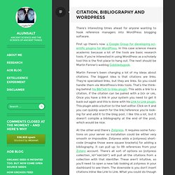 Citation, Bibliography and Wordpress