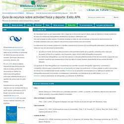 Estilo APA - Guía de recursos sobre actividad física y deporte - Biblioguías at Universidad Autónoma de Madrid
