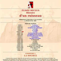 Bibliolib : Élisée Reclus - Histoire d'un ruisseau
