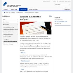 Tools for bibliometric analyses - Publishing - University Library