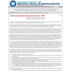 Biblioteca Virtual de Direitos Humanos da USP - Declaração de Dakar. Educação para Todos - 2000