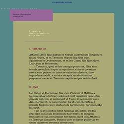 Texte latin : Hygin, Fabulae, CXXXV (bibliotheca Augustana)
