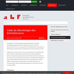 Code de déontologie du bibliothécaire - Association des Bibliothécaires de France