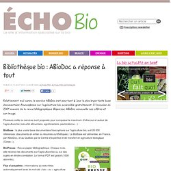 Bibliothèque bio : ABioDoc a réponse à tout