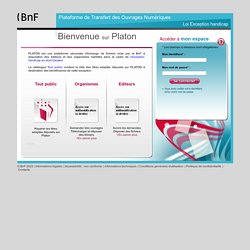 PLATON Plateforme de Transfert des Ouvrages Numériques pour l'exception handicap de la Bibliothèque nationale de France - Page d'authentification