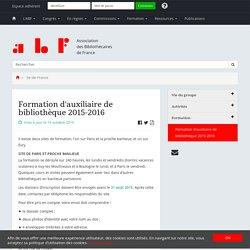 Formation d'auxiliaire de bibliothèque 2015-2016 - Association des Bibliothécaires de France - Groupe régional Ile-de-France