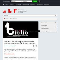 Bib'lib - Bibliothèque pour l'accès libre à l'information et aux savoirs - Association des Bibliothécaires de France