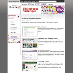 Bibliothèque numérique » Encyclopédie en ligne