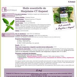 Fiche bibliothèque technique huile essentielle de Marjolaine CT thujanol - Origanum majorana CT thujanol
