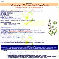 Fiche bibliothèque technique huile essentielle huile aromatique à la Sauge officinale - Salvia officinalis