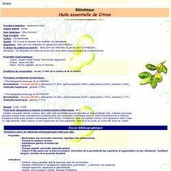 Fiche technique huile essentielle de Citron - Citrus limomum