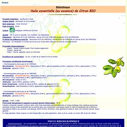 Bibliothèque huile essentielle de Citron BIO - Citrus limomum