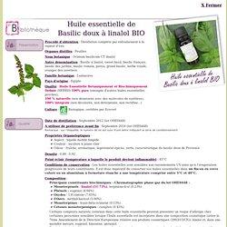 Fiche bibliothèque technique huile essentielle de Basilic doux à linalol BIO