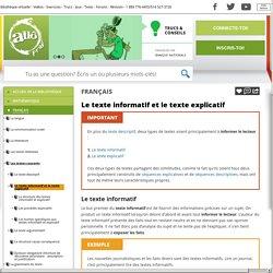 Le texte informatif et le texte explicatif - alloprof.qc.ca