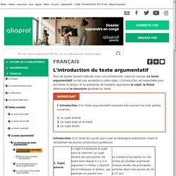 Bibliothèque virtuelle L'introduction du texte argumentatif