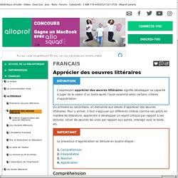 Bibliothèque virtuelle Apprécier des oeuvres littéraires