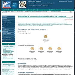 Bibliothèque de ressources mathématiques pour le TNI Promethean