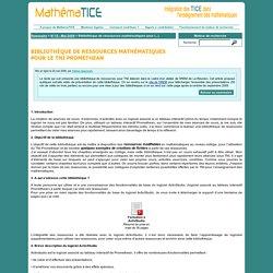 Bibliothèque de ressources mathématiques pour le TNI Prométhean