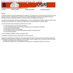 La base des Dossiers de presse de la Bibliothèque municipale de Lyon