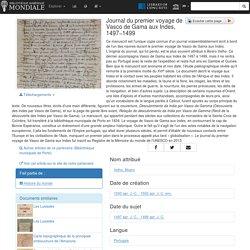Journal du premier voyage de Vasco de Gama aux Indes, 1497−1499 - Bibliothèque numérique mondiale